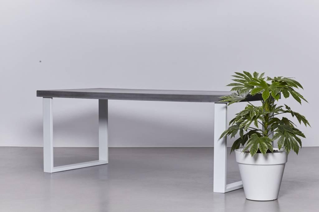 Stalen Onderstel Tafel : Eettafel van beton met wit stalen onderstel sh collections