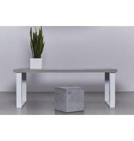 Betonfabriek  Betonnen tafel met wit stalen onderstel