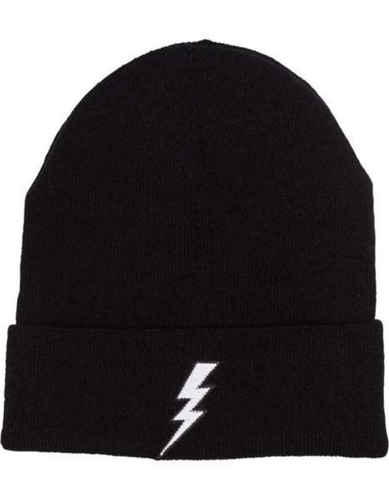 Black Lightning Beanie - white flash