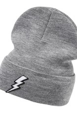 Grey Lightning Beanie - white flash