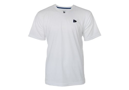 Donnay Donnay V-neck sport shirt (cool dry) - Wit/korenblauw