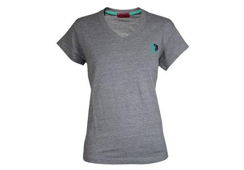 Donnay V-Neck T-Shirt Lds - Midden grijs gemêleerd
