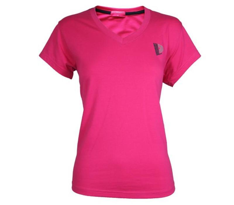 Donnay V-Neck T-Shirt Dames - Donker roze