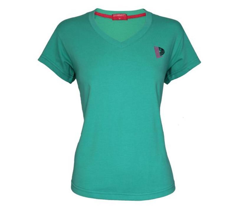 Donnay V-Neck T-Shirt Dames - Zeegroen
