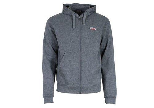 Donnay Sweater met hele rits en capuchon - donker grijs gemêleerd