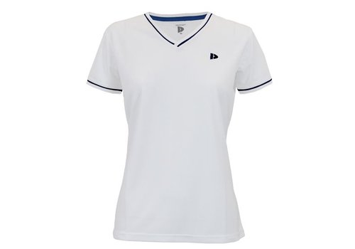 Donnay V- Neck sportshirt (cool dry) - Wit/Korenblauw