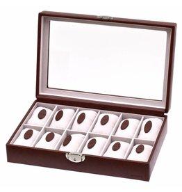 Davidts Uhrenbox 12 Stück mit Fenster Braun