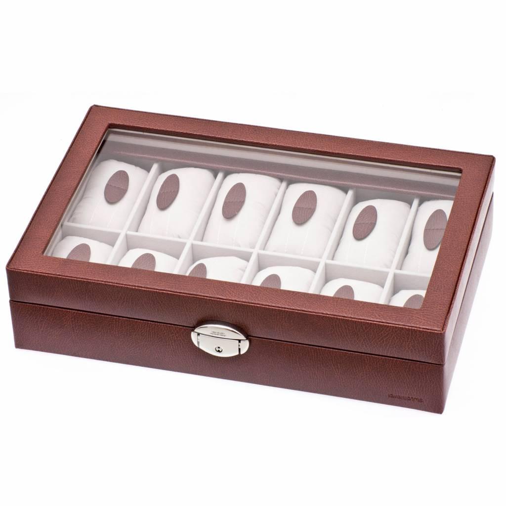 Uhrenbox 12 Stück mit Fenster Braun
