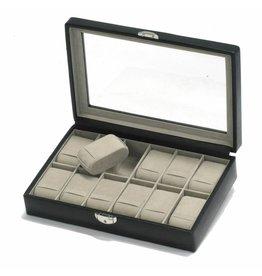 Davidts Boîte de montre 12 pièces avec fenêtre Noir