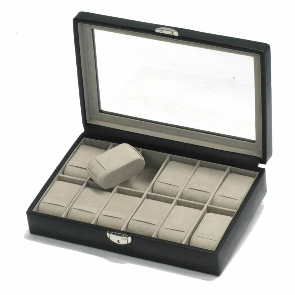 Uhrenbox 12 Stück mit Fenster Schwarz