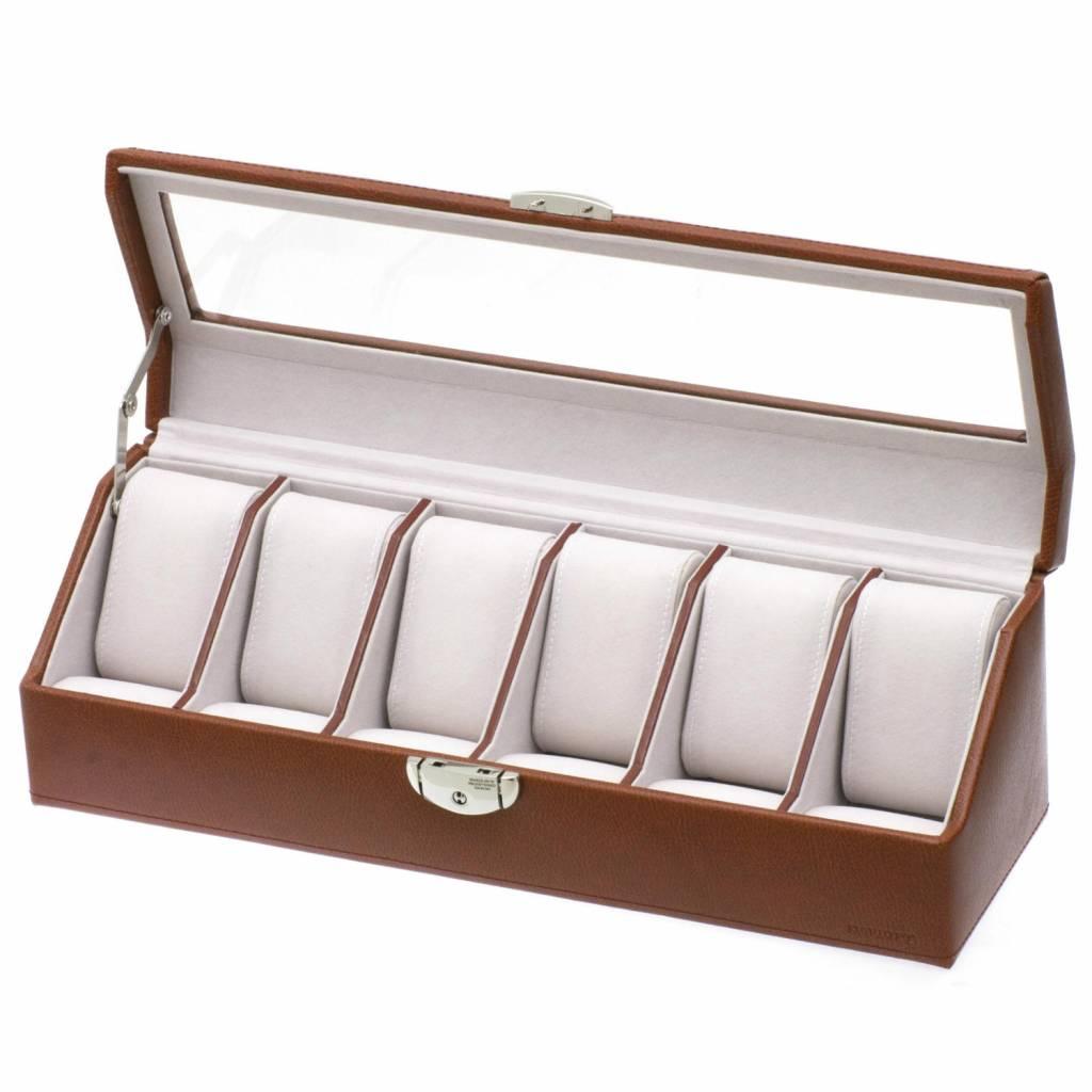 Uhrenbox 6 Stück Cognac