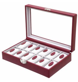 Davidts Uhrenbox 12 Stück mit Fenster Rot