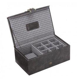 Jacob Jones Uhren- Manschettenknöpfebox grau