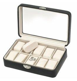 Davidts Uhrenbox Caiman 10 Stück mit Fenster Schwarz