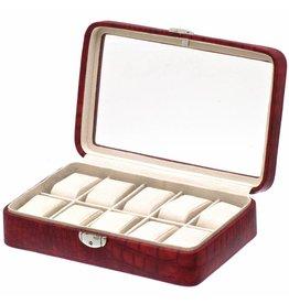 Davidts Uhrenbox Caiman 10 Stück mit Fenster rot