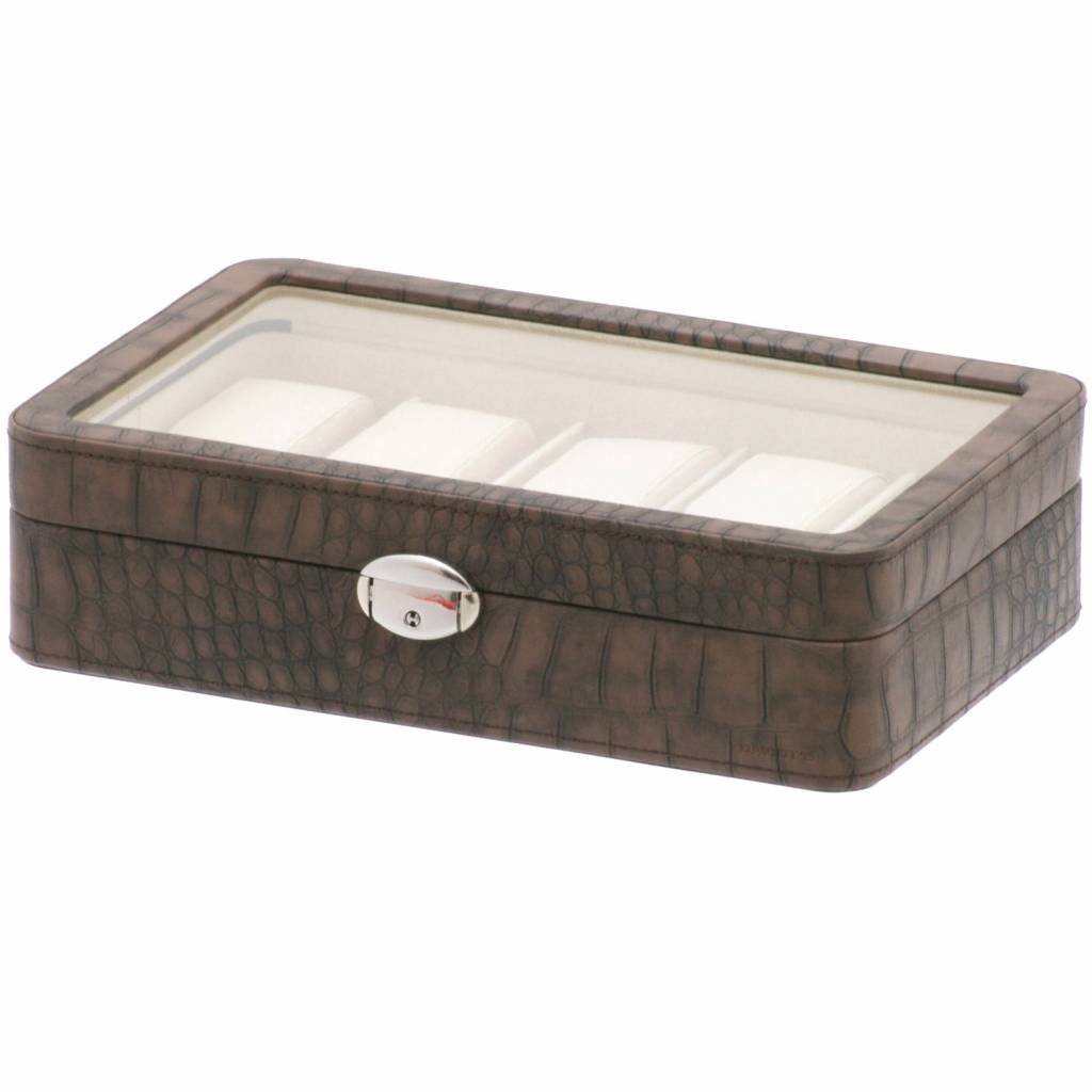 Uhrenbox Caiman 10 Stück mit Fenster Braun