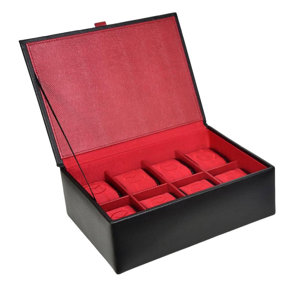 Uhrenbox 8 Stück schwarz rot