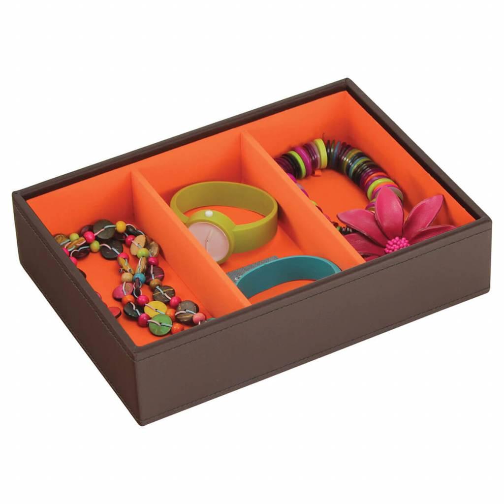 Sieradendoos Chocolate Brown Classic 3-vaks voor horloges/accessoires