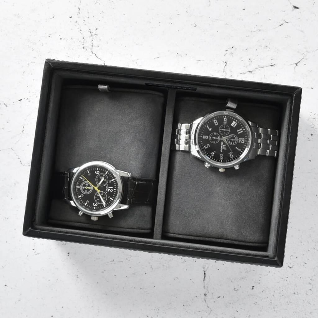 Black Mini horlogedoos 2 pcs open