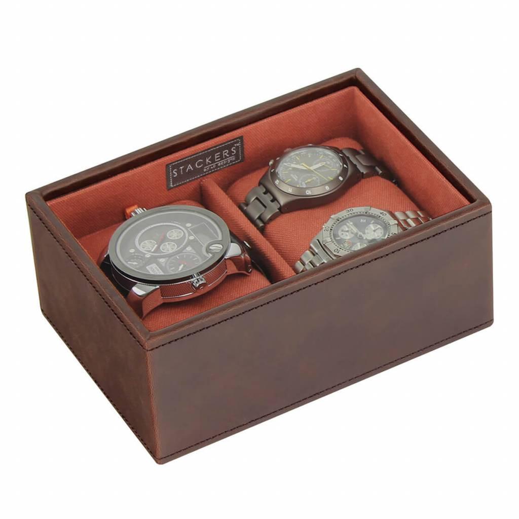 Vintage Brown Mini horlogedoos 2 pcs open