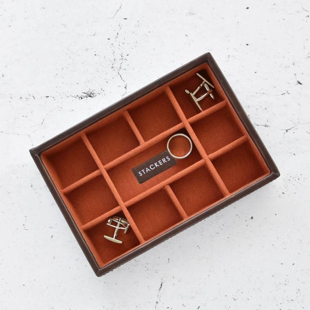 Vintage Brown Mini manchetknopen doos open