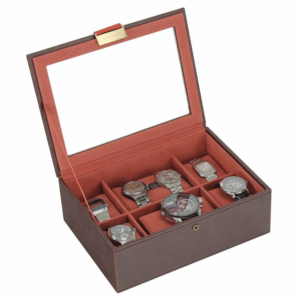 Vintage Brown Large top horlogedoos 8 pcs