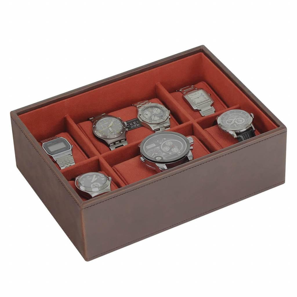 Vintage Brown Large horlogedoos 8 pcs open
