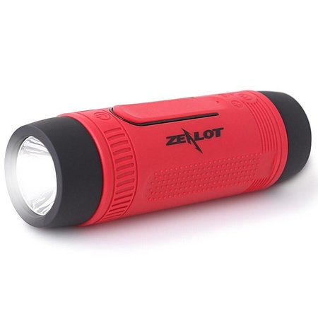 Zealot Zealot Bluetooth Fietsstuur Speaker met Flashlight en Power Bank - Rood