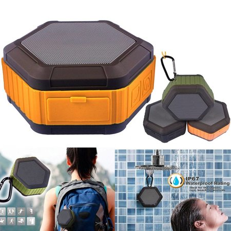 Hexagon Design Waterbestendige Bluetooth Speaker - Oranje