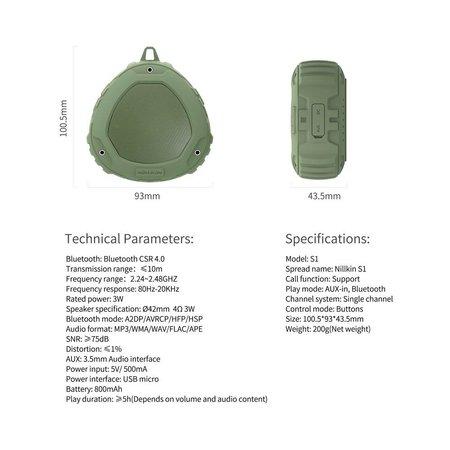 Nillkin Nillkin S1 PlayVox Shockproof Bluetooth Speaker Support - Zwart