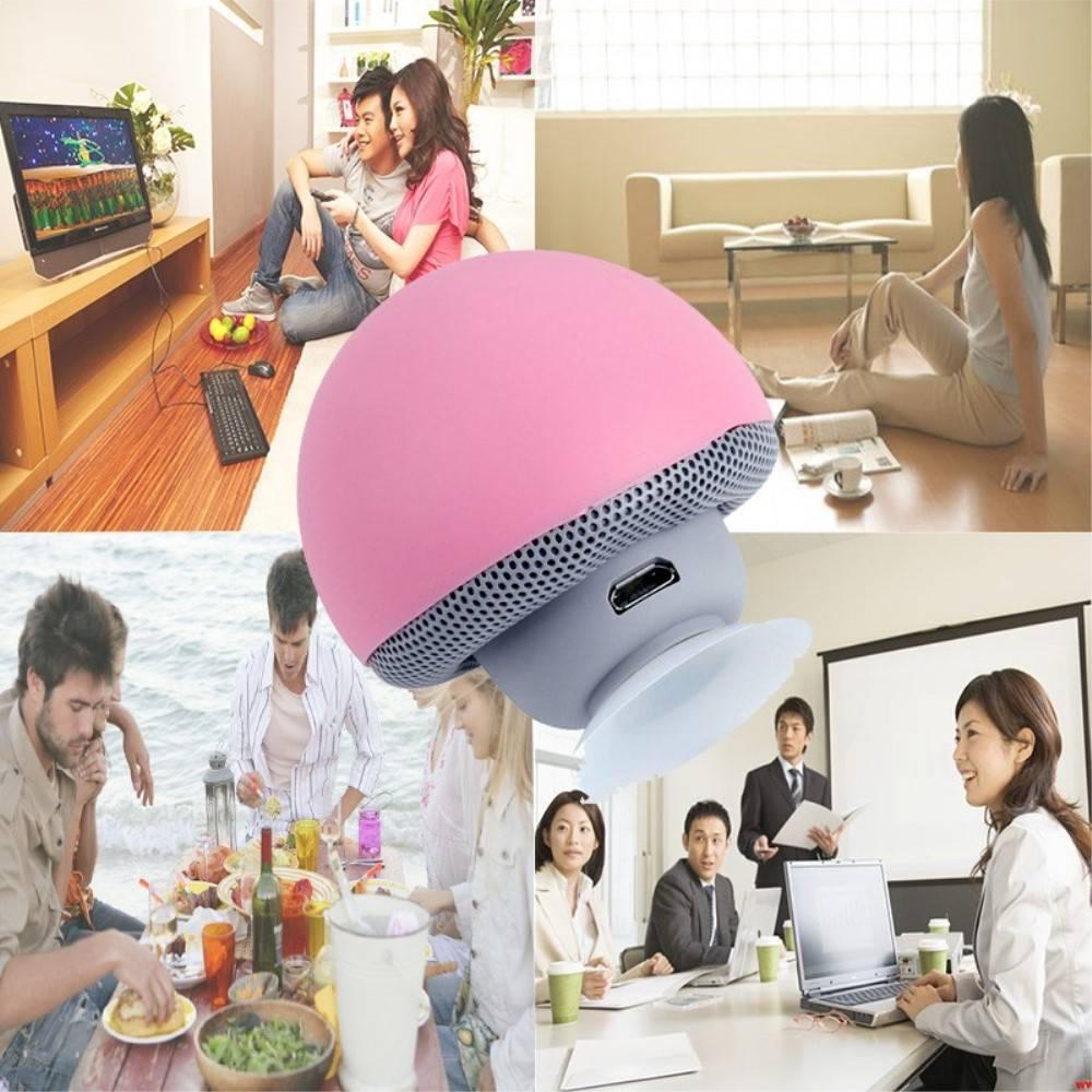 Paddestoel Bluetooth Speaker met Zuignap - Roze