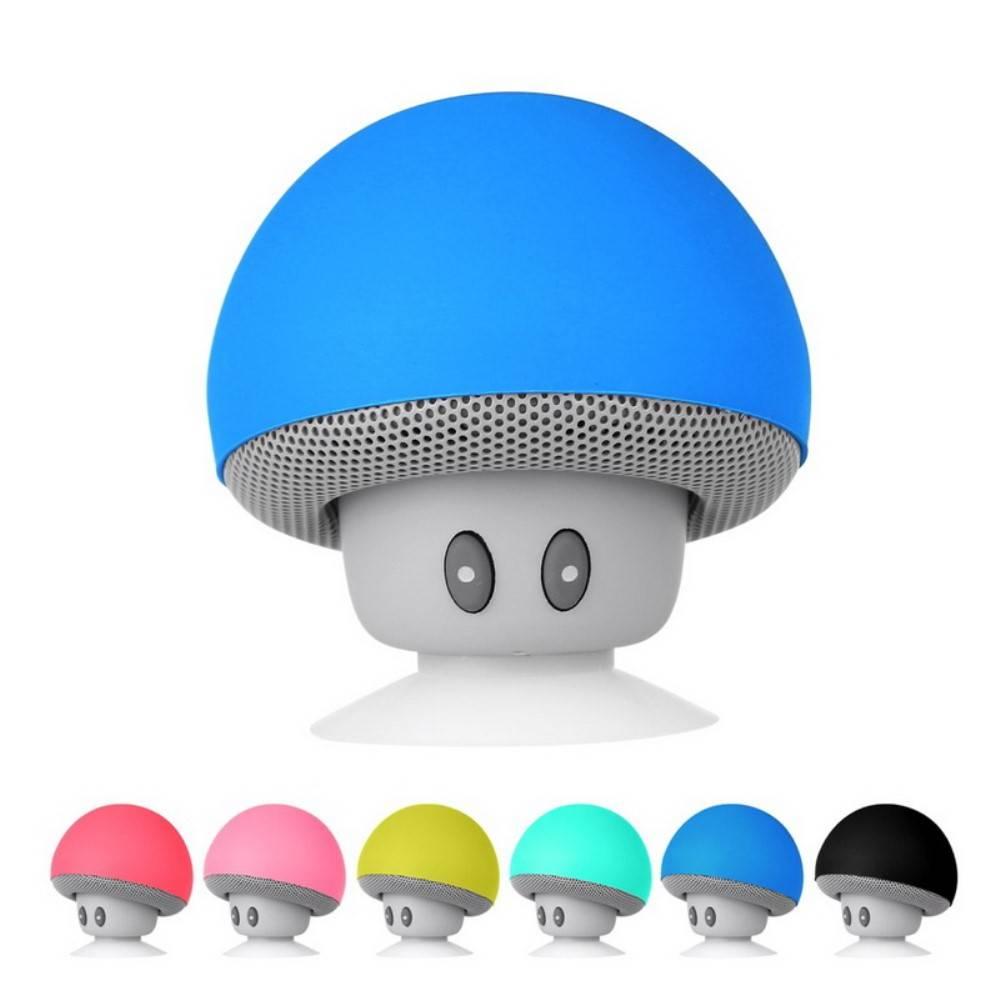 Mushroom Shape Stereo Surround Bluetooth Speaker with Suction Holder and Mic - Blauw
