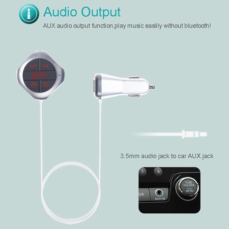 Q7S Magnetic Bluetooth Music Player Hands-free Speaker FM Transmitter Support TF Card / Aux-in - Zilver Color