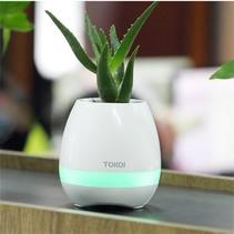 2-in-1 Bloempot LED Bluetooth Speaker LED - Wit