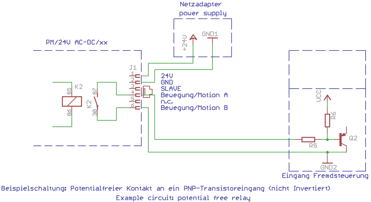 Circuit potential free relay