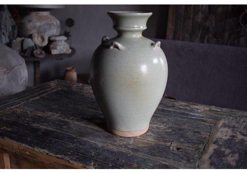 Belle Home Vaas groen snijwerk aardewerk