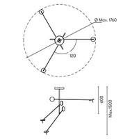 Invisble led 3-voudige hanglamp 27W-3000K in zwart dimbaar