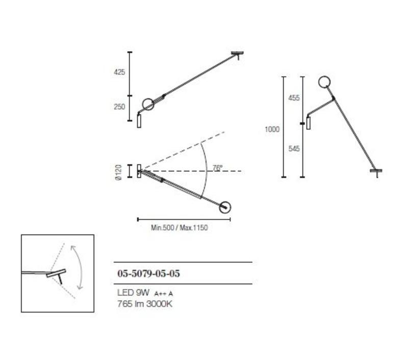 Invisible verstelbaar Led wandarmatuur 9W-3000K  zwart