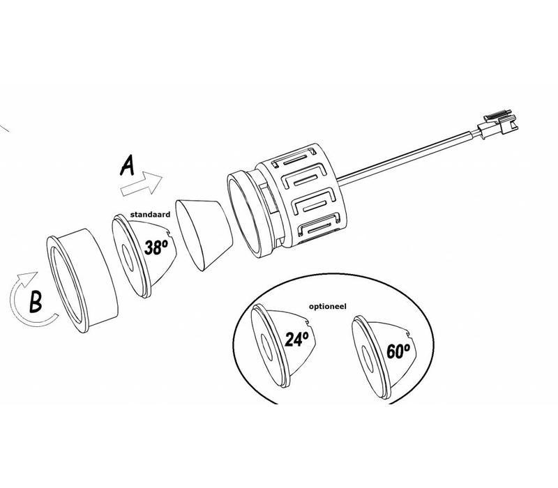 In Ø50mm ledmodule 13Watt-2700K-38gr dimbaar, incl. driver