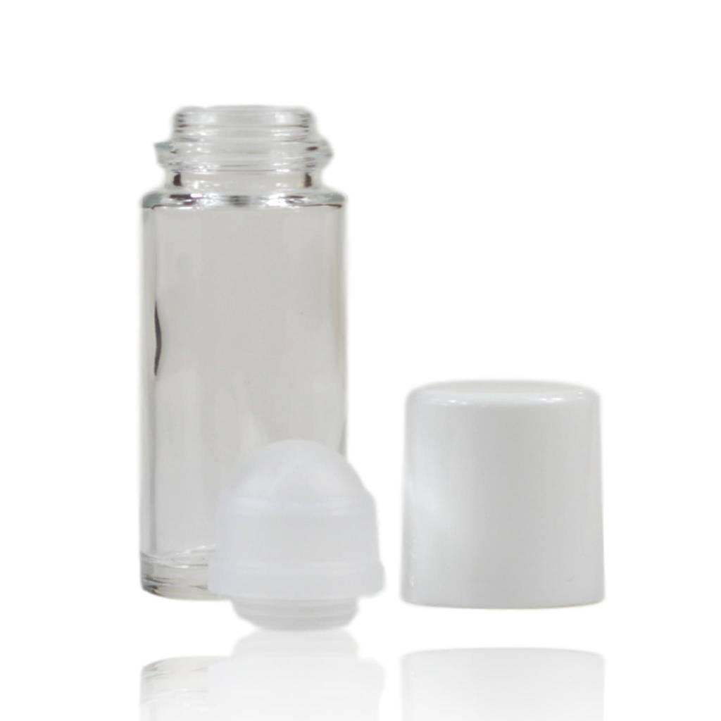 Roll on fles glas met witte dop 50 mL
