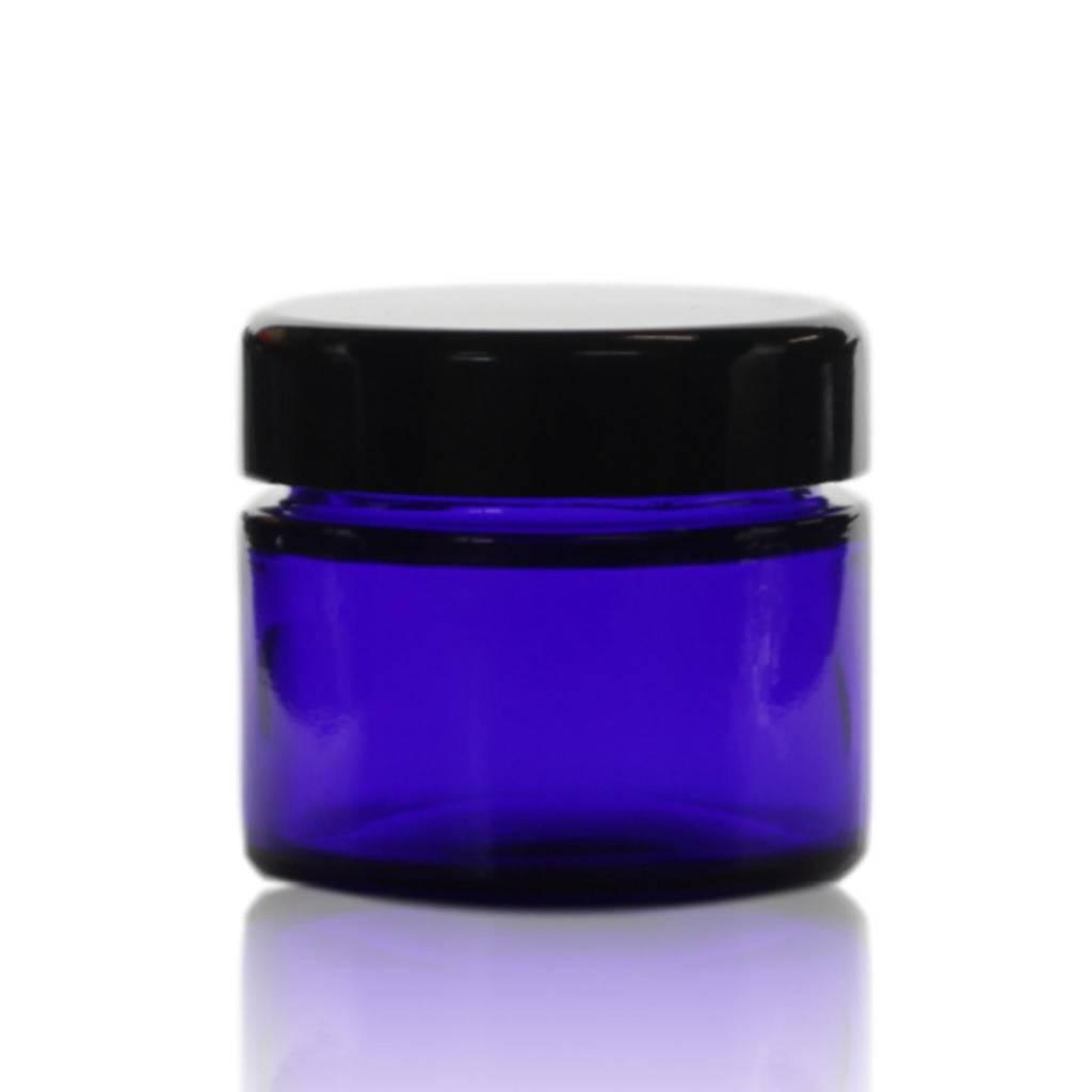 Zwarte deksel voor blauwglas pot