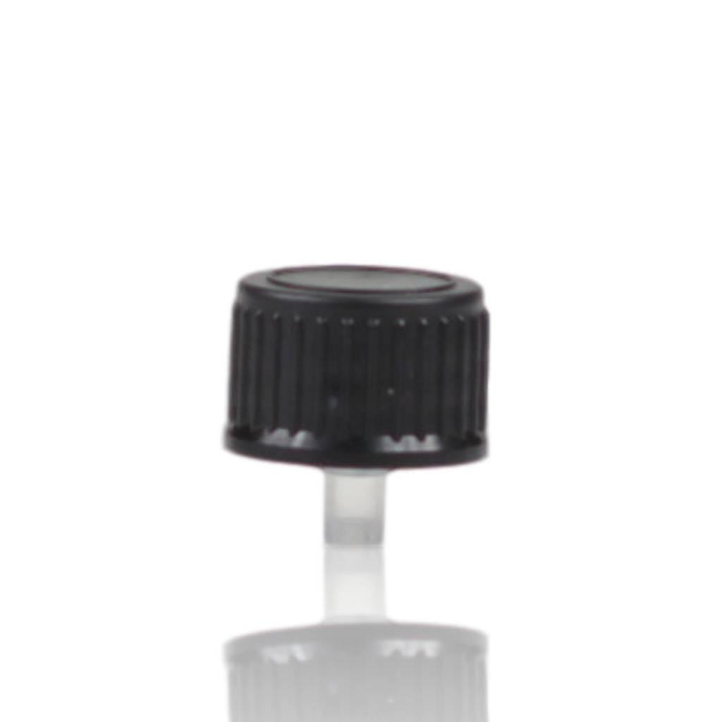 Zwarte schroefdop met druppelinlay (halstype B of DIN18)