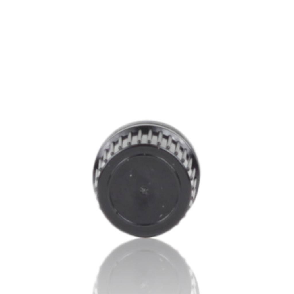 Zwarte schroefdop met gietring (halstype B of DIN18)