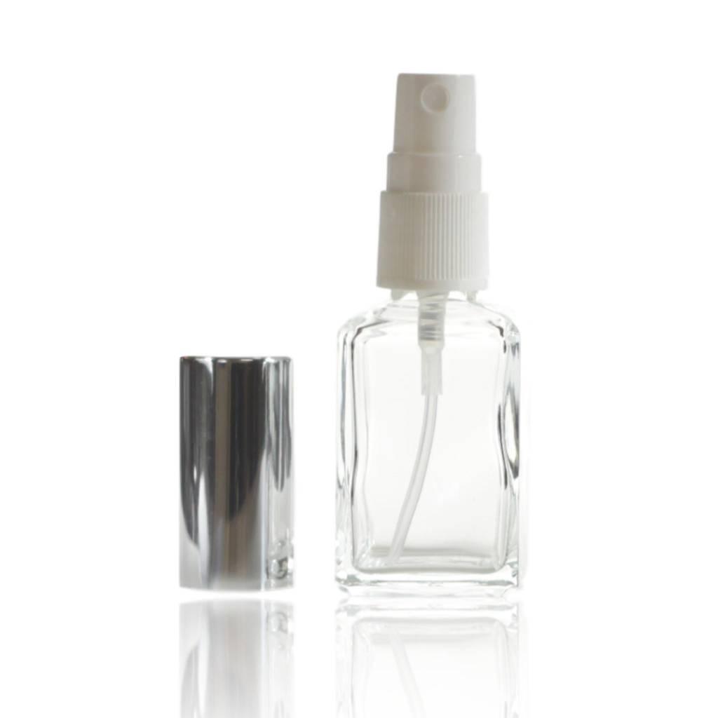 Glazen verstuiver met zilverkleurige dop 30 mL