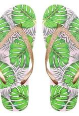 Sieraden by Ladybugs Tropical Glitter Flip Flops - Gold MY JEWELLERY