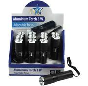 HQ HQ Toonbankdisplay met 1 LED 12 stuks Aluminium Mini Zaklampen Focus Black