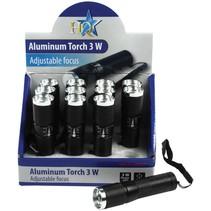HQ Toonbankdisplay met 1 LED 12 stuks Aluminium Mini Zaklampen Focus Black