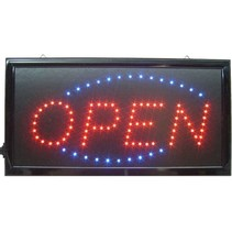 Blue/Red LED Bord Open met Knipperlicht