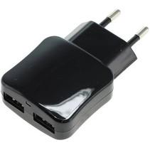 Blue LED USB-oplader 2-poorts 2.1A - Black