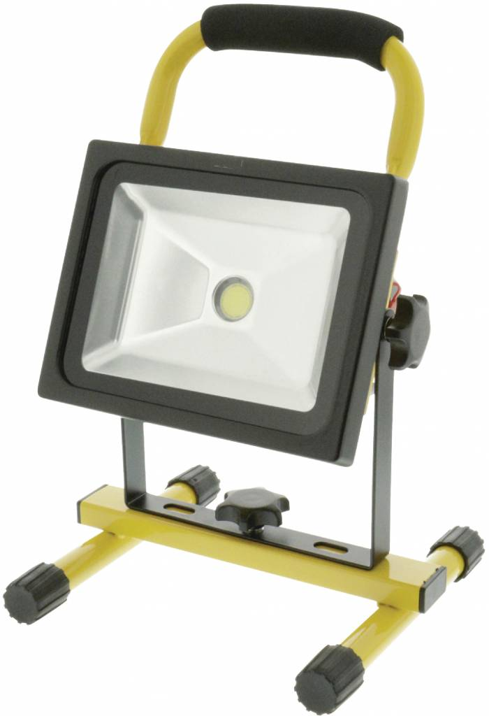 Konig Mobiele COB LED-bouwlamp 20 W – Zwart / Geel